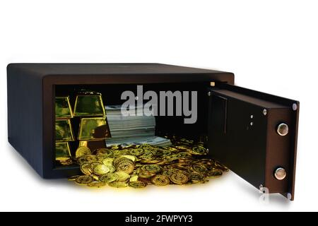 Steel safes box full of coins stack and gold bar and banknote 100 USD at the white background with clipping path, business banking concept