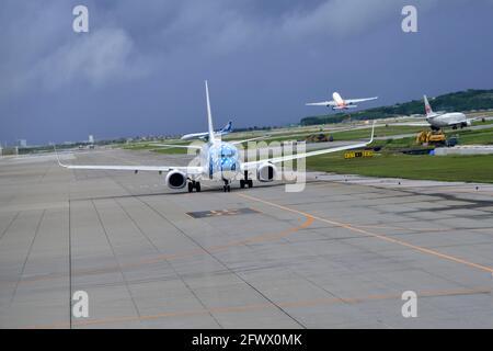 Japan Transocean Airline, JTA, Boeing,B-737/800, JA05RK, Blue Whale Shark, Taxiing, Naha Airport, Naha, Okinawa, Ryukyu Islands, Japan