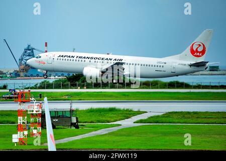 Japan Transocean Air, JTA, Boeing B-737/400, JA8938, Take Off,  Naha Airport, Naha, Okinawa, Ryukyu Islands, Japan