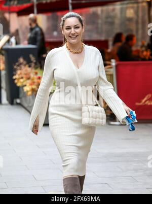 London, UK. 25th May, 2021. Kelly Brook departs her Smooth FM show at the Global Radio Studios in London. Credit: SOPA Images Limited/Alamy Live News