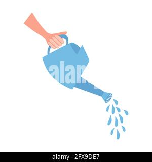 Hand holding a watering can with water, business concept flat design