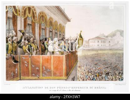 Crowds cheering Dom Pedro I (1798-1834) Emperor of Brazil and his first wife Maria Leopoldina (1797-1826), Empress consort of Brazil at the Santa Anna, camp in Rio de Janeiro, lithographic print by Jean Baptiste Debret, 1834-1839