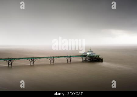 Clevedon Pier in the mouth of the River Severn, North Somerset, England.
