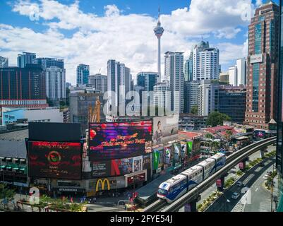Kuala Lumpur cityscape around shopping district Bukit Bintang in Malaysia capital city with the KL tower in the background