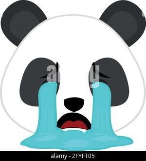 Vector emoticon illustration of the face of a cartoon panda bear crying