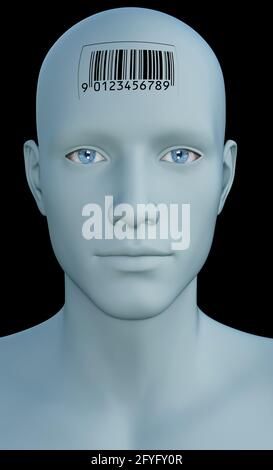 humanoid with a barcode on the head, concept for enhanced humans, implantable technology and android development
