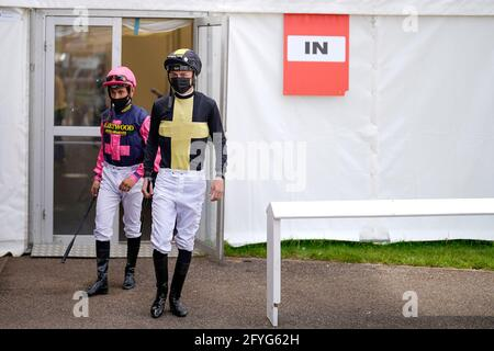 A general view as jockeys leave the temporary weighing room at Brighton Racecourse. Picture date: Friday May 28, 2021.