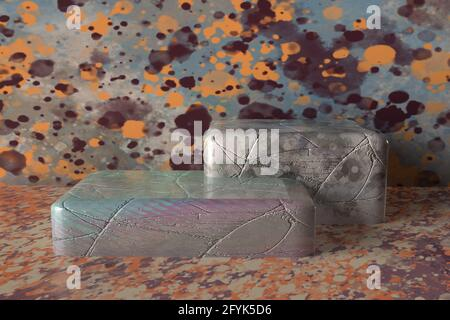 An abstract 3d grunge block display background image.