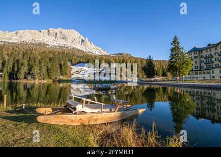 Misurina, Italy - October 27, 2014: Lake misurina near Tre Cime is the largest natural lake of the Cadore and it is 1754 m above sea level.