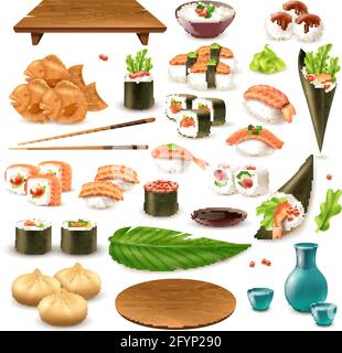 Set of japanese food including sushi, sake, rice in bowl, dumplings, wasabi, soy sauce isolated vector illustration