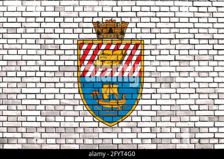 flag of Beirut, Lebanon painted on brick wall