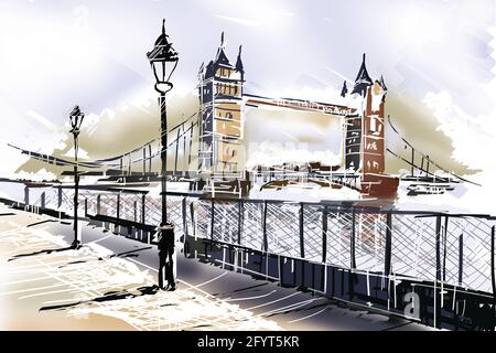 Fine art drawing of the famous travelling landmark, The Tower Bridge in London UK with boardwalk and Thames. Travelling Great Britain