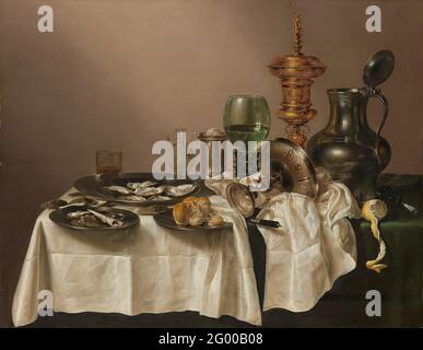 Still Life with a Gilt Cup. The range of grey tonalities that Willem Heda could paint is astounding. With this subtle palette, he deftlyrendered the objects – of pewter, silver, damask, glass and mother-of-pearl – on this table. A few yellow andochre accents compliment this refined interplay of colours. Heda specialized in near monochromatic stilllifes, so-called 'tonal banquet pieces'.