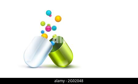 Health pill with vitamins balls on white background - 3D image