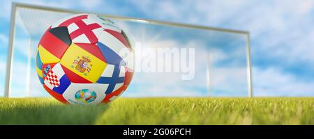 Guilherand-Granges, France - June 01, 2021. Football with national flags of participating states of Euro 2020 (in 2021) football tournament and offici