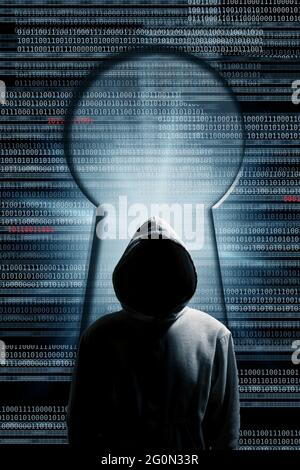 mysterious hooded man with code and a keyhole, hacker and cybercrime concept