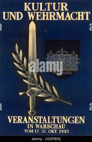 A vintage Nazi propaganda poster for Cultural and Army Events in Warsaw 1943