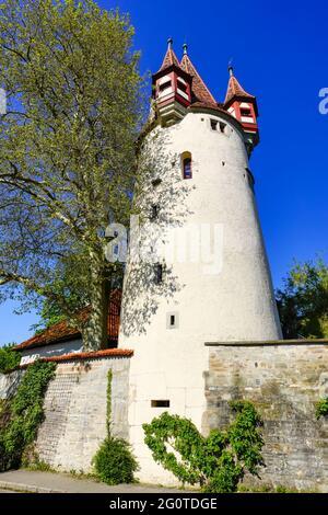 View of impressive Diebs Tower in Lindau, Bavaria, Germany.