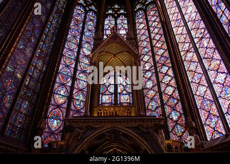 Paris (France). Detail of one of the stained glass windows inside the Holy Chapel (Sainte-Chapelle) of the city of Paris.