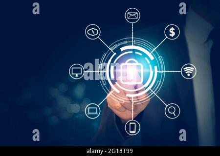 Hand of businessman pushing icon lock sign while cyber security with access with finger, data and privacy with protection digital virtual, innovation
