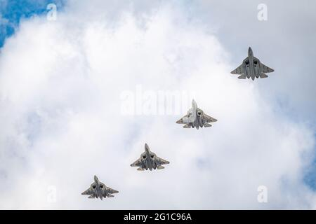 Moscow, Russia - May, 05, 2021: Four Sukhoi SU-57 Felon flying over Red Square during the preparation of the May 9 parade.