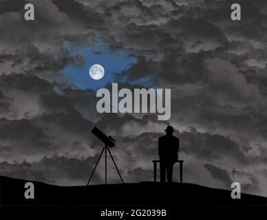 An amateur astronomer sits and waits for an opening in the clouds so he can view the sky with his telescope in this 3-d illustration.