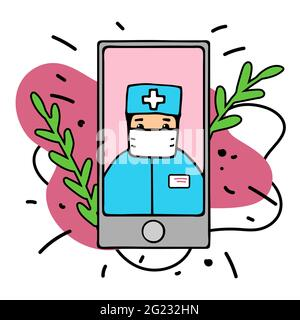 Online medical consultation concept. Hand-drawn character online doctor. Smartphone screen therapist on mask. Web diagnostic service app on white