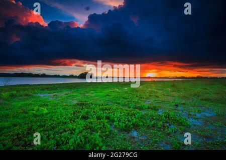 Colorful skies at sunset at the lakeside of Refugio de vida Silvestre Cienage las Macanas nature reserve, Herrera province, Republic of Panama.
