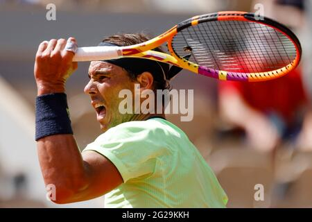 Paris, France. 9th June, 2021. Rafael Nadal from Spain at the 2021 French Open Grand Slam tennis tournament in Roland Garros, Paris, France. Frank Molter/Alamy Live news
