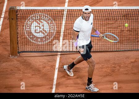 Paris, France. 9th June, 2021. Matteo Berrettini of Italy reacts during the men's singles quarterfinal against Novak Djokovic of Serbia at the French Open tennis tournament at Roland Garros in Paris, France, June 9, 2021. Credit: Aurelien Morissard/Xinhua/Alamy Live News