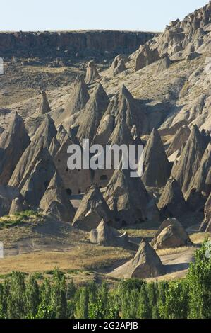 caves houses in typical rock formation near Yaprakhisar and Selime in Ihlara valley central Anatolia Cappadocia Turkey