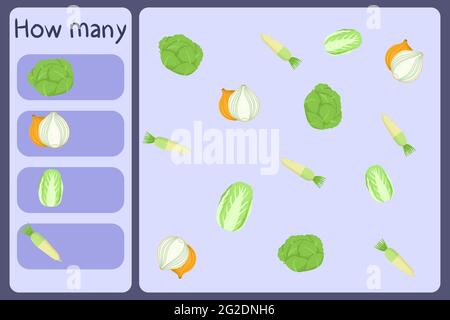 Kids mathematical mini game - count how many vegetables - cabbage, onion, daikon. Educational games for children. Cartoon design template on colorful backdrop. Vector graphic.