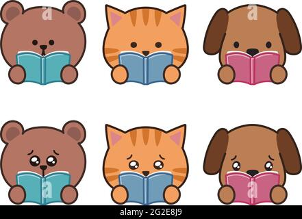 Set of animals impressed by books. Vector illustration isolated on white background.