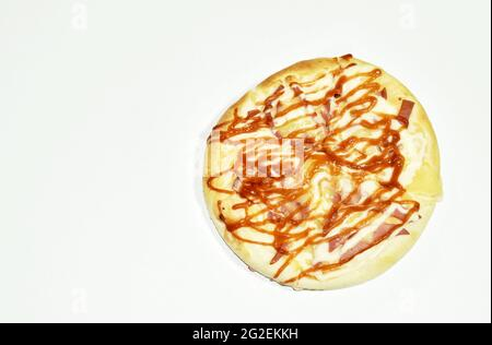 homemade pizza topping chicken sausage and cheese on white background