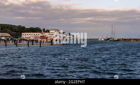 Sassnitz, Mecklenburg-Western Pomerania, Germany - October 02, 2020: Boats in city harbour of Sassnitz