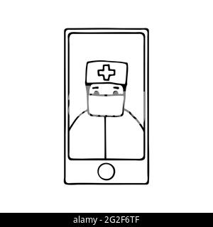 Doodle concept online doctor. Hand-drawn phone with a medical staff. Kind character in a medical protective mask. Medical vector illustration, health