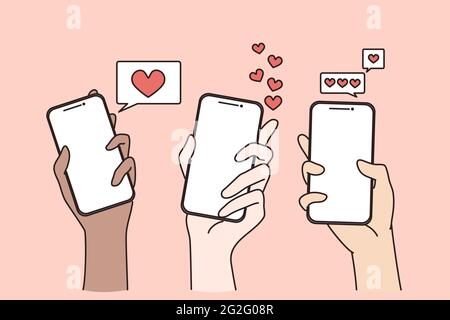 Dating in internet and online chat concept. Human hands holding smartphones with likes and hearts in application online vector illustration