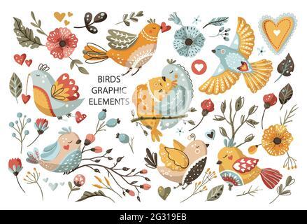 Summer bird cartoon vector set. Cute colorful animal scandinavian collection with flower, little bright birds nature wildlife clipart element.