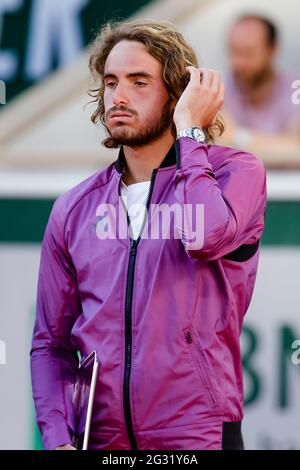Stefanos Tsitsipas reacts dissapointed after the men's single final at the 2021 French Open Grand Slam tennis tournament in Roland Garros, Paris, France.