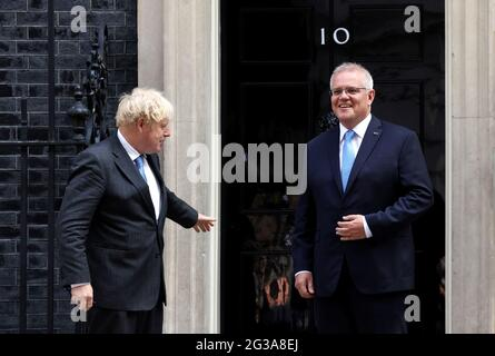 British Prime Minister Boris Johnson meets with his Australian counterpart Scott Morrison at Downing Street in London, Britain, June 15, 2021. REUTERS/Henry Nicholls