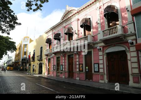 Colonial buildings in the city of Merida, Mexico