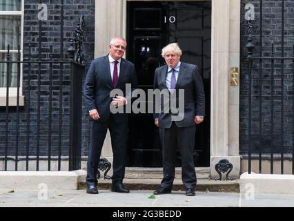 LONDON, ENGLAND, JUNE 14 2021, British Prime Minister Boris Johnson greets Australian Prime Minister Scott Morrison outside the door of 10 Downing Street, London on Monday 14th June 2021. (Credit: Lucy North | MI News)