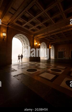 Access arcades to the basilica of the Montserrat Abbey (Bages, Barcelona, Catalonia, Spain) ESP: Arcadas de acceso al monasterio de Montserrat