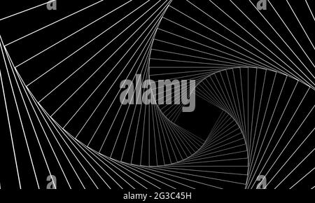Abstract geometric banner. Swirling white lines on a black background. Whirl square, wave stripes, rotation movement, neon spiral image. Futuristic tw