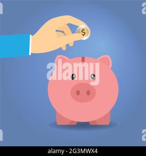 Hand of a man putting a dollar coin into a piggy bank