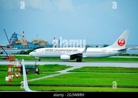 Japan Transocean Air, JTA, Boeing, B-737/800, JA03RK, Take Off, Naha Airport, Naha, Okinawa, Ryukyu Islands, Japan