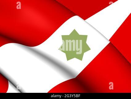 3D Flag of Trucial States. 3D Illustration.