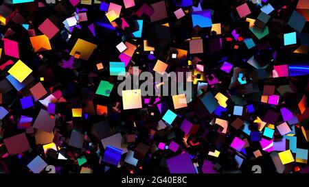 Multicolored random cubes filling the screen, computer generated. 3d rendering neon background