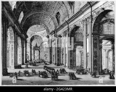 Engraving of the interior of St Peter's in Rome, Italy