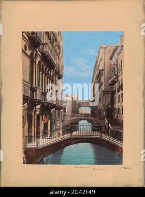 Bridge of sighs and Palazzo Ducale in Venice; Puente de los Suspiros, Palacio Ducal. Venecia. Part of travel album with photos and drawings by Manuel Mayo 1876.